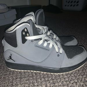 Black and Gray Jordan shoes